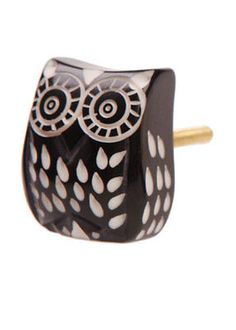Black Owl Ornate Door Drawer Knob Vintage Shabby Chic Quirky Cupboard Draw Pull