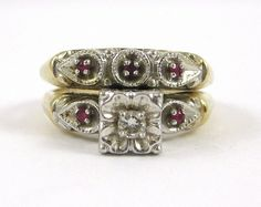 Vintage  Diamond with Ruby and 14K Gold Wedding Set | Engagement Ring | Anniversary Ring | Wedding Ring | Valentine's Day | Ruby Ring by MarketplaceVintage1 on Etsy