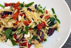 Orzo with Feta and Sundried Tomatoes - would be good with grilled chicken cubed and mixed in!