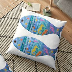 Floor Pillows, Throw Pillows, Sea Floor, Large Cushions, Weird Holidays, Fish Shapes, Meaningful Gifts, Pillow Design, Under The Sea
