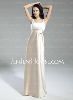 Bridesmaid Dresses - $200.00 - A-Line/Princess Scoop Neck Floor-Length Satin Bridesmaid Dresses With Sash (007014859) http://jenjenhouse.com/A-line-Princess-Scoop-Neck-Floor-length-Satin-Bridesmaid-Dresses-With-Sash-007014859-g14859