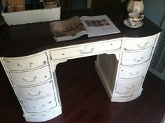 Sold/Shabby Chic Vintage Desk/Vanity by SaundersDesign on Etsy