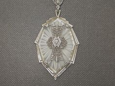 Camphor Glass Necklace Sterling Silver Art by VintageVogueTreasure