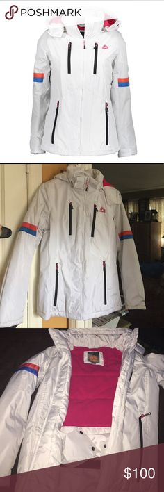 NWOT RBX White Hooded Ski Jacket sz S NWOT RBX white hooded ski jacket/coat.  Sz S.  Never worn.  Beautiful colored coat. Perfect for winter sports and/or just to wear!  Very warm.  Really didn't want to give this up, but a tad too snug on me.  Removable hood.   OFFERS WELCOME!! RBX Jackets & Coats
