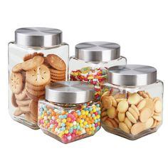 Home Basics Glass Canister Set, Square: Four piece square glass canister clears up counter tops by providing neat storage space for dry ingredients. It's elegant clear glass design and metal tops keeps dry food fresh longer. Kitchen Canister Sets, Coffee Canister, Storage Canisters, Glass Canisters, Glass Jars, Clear Glass, Kitchen Sets, Kitchen Pantry, Kitchen Storage