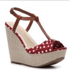 """Ciao Bella red polka dot pin up wedges 7 So cute! Wedge 5"""" high. Very good condition! Worn 1 time on vacation so the soles show wear but otherwise they look excellent. Bought them online I want to say Macy's a few years ago. I never wear them. Size 7 great summer wedge! Ciao bella Shoes Wedges"""