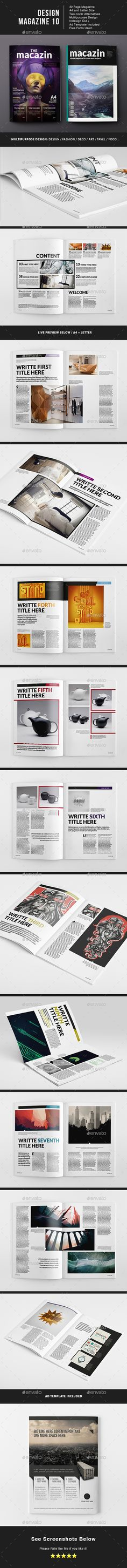 Design Magazine 32 Pages Template InDesign INDD #design Download: http://graphicriver.net/item/design-magazine-10-template/14387273?ref=ksioks