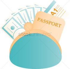 Clutch bag with money and passport vector illustration , #affiliate, #money, #bag, #Clutch, #illustration, #vector #affiliate