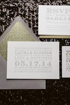 Light Grey & Gold Letterpress Wedding Invitation, grey and gold wedding, glittery wedding invitation, metallic gold wedding, glitter envelope liner
