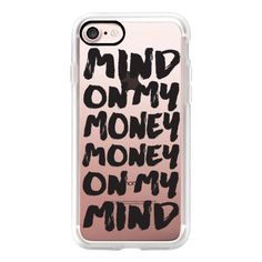 Bold black trendy typography money brush script transparent - iPhone 7... ($40) ❤ liked on Polyvore featuring accessories, tech accessories, iphone case, transparent iphone case, apple iphone cases, iphone hard case, iphone cases and iphone cover case