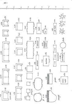 Meubels op schaal - Lilly is Love Architecture Symbols, Architecture Blueprints, Interior Architecture, Interior And Exterior, Drawing Architecture, Autocad, Architect Data, Floor Plan Symbols, Cad Blocks Free