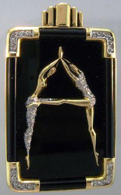 Erté - Bijoux - Broche 'Alphabet' - Lettre A - Or, Argent et Cristal de Swarovski sur Email Noir