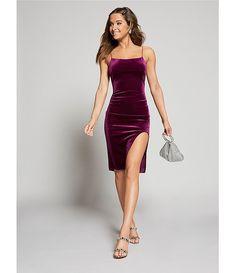 B. Darlin Square-Neck Velvet High-Slit Midi Dress   Dillard's Homecoming Queen, Prom Dresses, Formal Dresses, Dillards, Night Out, Latest Trends, Bodycon Dress, Velvet, Clothes