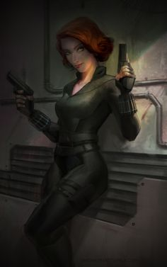 """thingsfortwwings: """" [Image: Natasha Romanoff wearing her Black Widow uniform, leaning against a wall, and holding two guns. Marvel Women, Marvel Girls, Comics Girls, Black Widow Scarlett, Black Widow Natasha, Natasha Romanoff, Marvel Fan Art, Marvel Heroes, Stan Lee"""