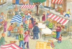 mercado Hidden Words, Picture Story, How To Speak French, Detail Art, Speech Therapy, Folk Art, Clip Art, School, Illustration