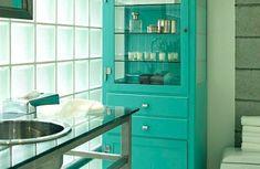 Allisio Decoración klein Badezimmer grün schrank