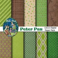 Disney Peter Pan Inspired Digital Paper Backgrounds Pack - 12x12  - INSTANT DOWNLOAD