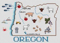 Oregon Map - Cross Stitch Pattern