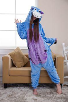 Blue Donkey Cartoon Onesies Pajamas