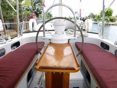 A fixed cockpit table in a wheel-steered yacht. One that folds down against the…