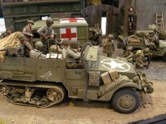 American halftrack, ambulance, and jeep