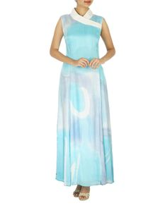 Shawl collar ice blue long dress | Shop now: www.thesecretlabel.com