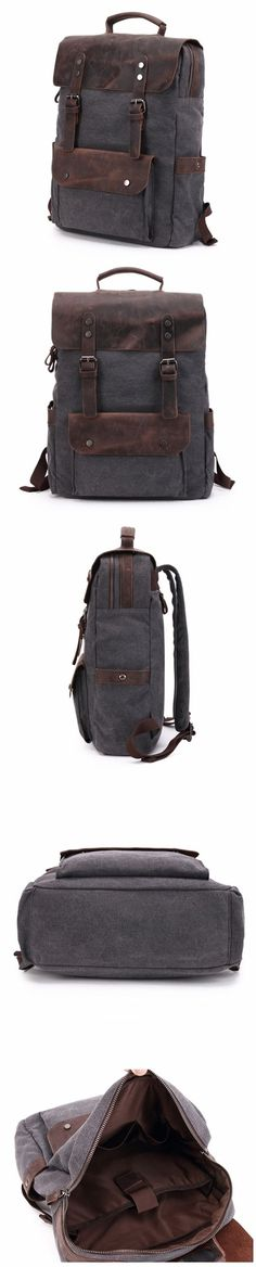 Canvas Backpack with Top Grain Leather Cover, Laptop Backpack, Vintage Waterproof School Bag