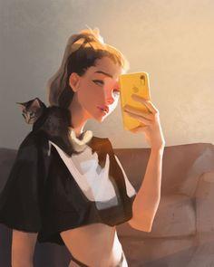 Digital Art Girl, Digital Portrait, Art Drawings Sketches, Cute Drawings, Cute Images With Quotes, Cute Cartoon Girl, Cartoon Art Styles, Illustration Girl, Anime Art Girl