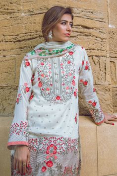 Shirt: Fabric: Embroidered Lawn Shirt Shalwar/Trouser: Fabric: Printed Trouser Dupatta: Fabric: Chiffon Dupatta.