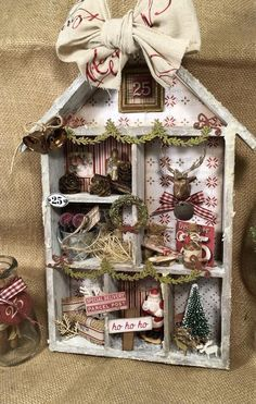 Gift package ideas  Gift package ideas Shabby Chic Christmas, Retro Christmas, Christmas Home, Christmas Holidays, Christmas Ornaments, Christmas Crafts For Gifts, Christmas Projects, Handmade Christmas, Christmas Shadow Boxes