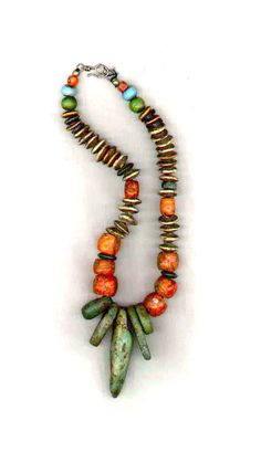 by Rita Okrent | Ancient amazonite beads from Mauritania, antique coral beads and shell beads from Morocco.  {SOLD}