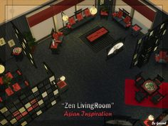 Coucou ^^ / Hello :) Here is a new set of object. Asian style. (Conversion) 5 colors (Black, Red, Brown (3 shades)) 20 New Items ! Compatible base game. (Sofa, LoveSeat, Chair, DiningChair, Coffee...