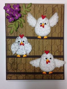 Using Stampin up owl and bird punches, word background stamp as well as the old chicken wire stamp.