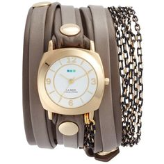 Women's La Mer Collections Odyssey Leather & Chain Wrap Strap Watch,... (7.685 RUB) ❤ liked on Polyvore featuring jewelry, watches, la mer watches, chains jewelry, leather watches, wrap strap watches and leather-strap watches