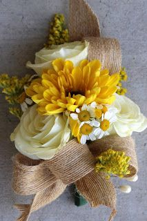 Mother's Corsage: white roses, viking mum, chamomile, solid aster with burlap ribbon // Celebration Flair