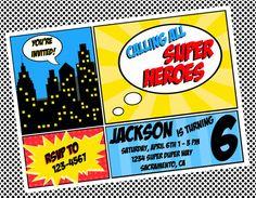 Personalized Super Hero Birthday Party Invitation Design Digital You