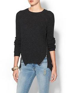 Autumn Cashmere Shaker Stitch Pullover w/ Zippers | Piperlime