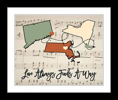 ANY Three States Wedding Gift Maps Long Distance Relationship