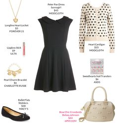 My weekly outfit - https://mystylit.com Peter Pan Dress by Sunnygirl ($43, Modcloth), ivory and gold pendant necklace, black ballet flats, ivory/black cardigan, ivory and gold bag, pearl and gold/rose gold charm bracelet