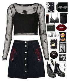"""""""walk through tescoland"""" by xxharrietxx ❤ liked on Polyvore featuring Boohoo, Topshop, Fuji, NARS Cosmetics, Dr. Martens, Lime Crime, Polaroid and Aesop"""
