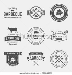 vector set of barbecue labels, badges and design elements