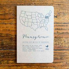 Letterpress Notebook Pennsylvania