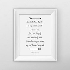 Psalm 139:13-14 Arrow Bible Verse Print by MonkeyGraphicDesign