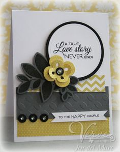 Wedding card by Jen del Muro using the Love Story set by Verve Stamps.