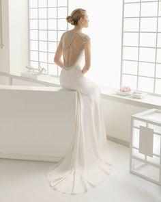 3 - vestido de noiva demos de rosa clara 2016 em crepe com trabalho em marfim
