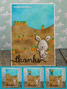 """Interactive Thank you card using the """"Happy Hoppy"""" set by Gerda Steiner Designs, some Distress Inks to create the papers and Copic markers to colour the bunny and the carrots ;o) You can find more pictures and a list of supplies used on my blog! Happy crafting, Maike maikreations: Thanks - a carrot bunch ;o)"""