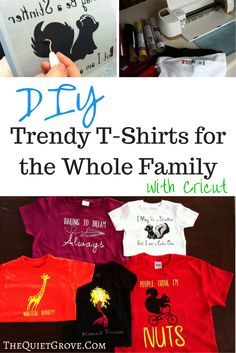 Check out how easy it is to make your own tready t-shirts fr each member of your family with Cricut. Fun Arts And Crafts, Arts And Crafts Projects, Crafty Projects, Hobbies And Crafts, Iron On Cricut, Cricut Vinyl, Simple Shirts, Cool T Shirts, Easy Hobbies