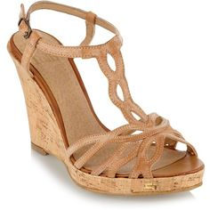 """""""Tan cork wedge heeled sandals"""" found on Polyvore"""