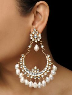 Classic Kundan-inspired Gold-plated Copper Earrings with Jadau Work