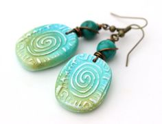 Green and Blue Polymer Clay Earrings